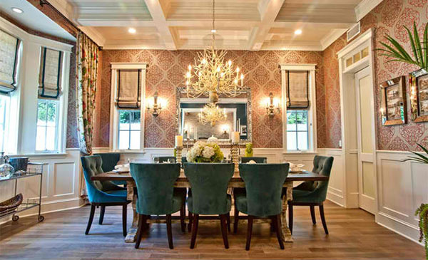 15 dining rooms with damask wall patterns home design lover - Dining room wallpaper accent wall ...