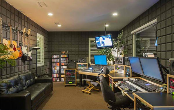 gray music studio - Music Room Home Design Ideas