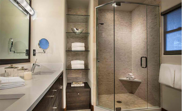 15 Bathroom Spaces with Glass Shelving | Home Design Lover
