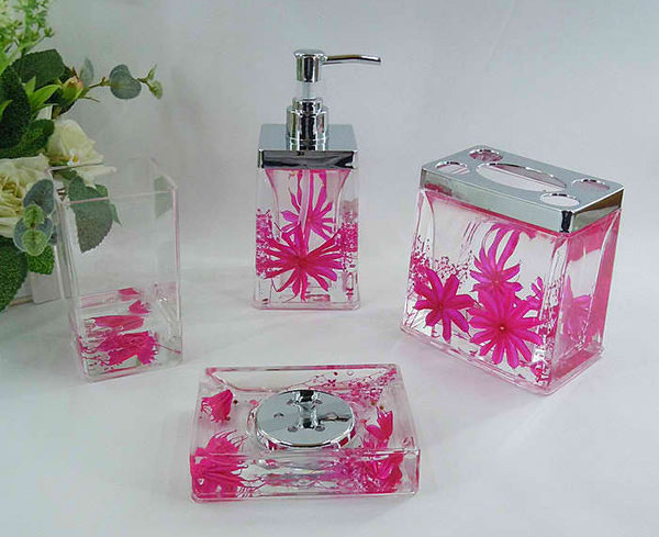 Dark Pink Floral Acrylic Bath Accessory Sets H4006