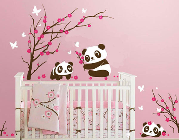 Pandas Play in Cherry Blossoms Wall Decal-Wall Sticker