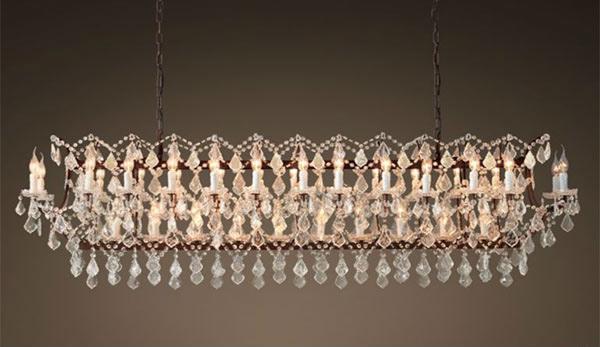 19th C. Rococo Iron & Clear Crystal 73.25