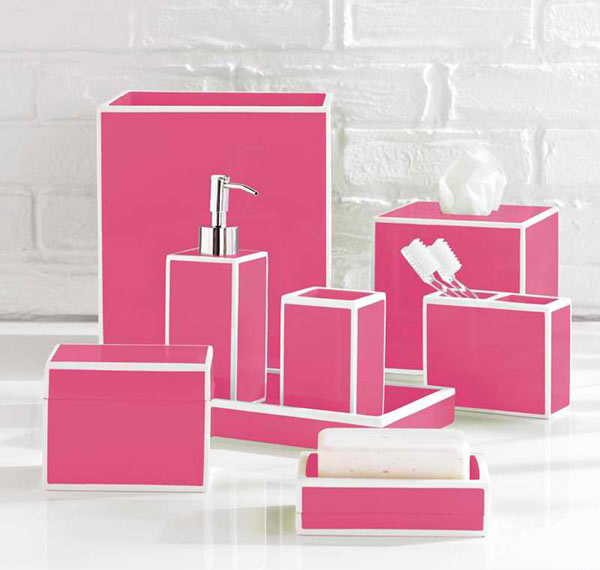 15 chic pink bathroom accessories set home design lover for Pink grey bathroom accessories