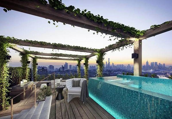 15 stunning and relaxing rooftop pools home design lover. Black Bedroom Furniture Sets. Home Design Ideas