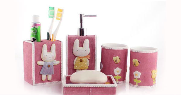 Pink Resin Rabbit 5pcs Bathroom Set