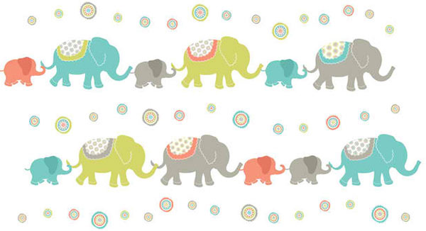 Tag Along Elephants Wall Art Decal Kit