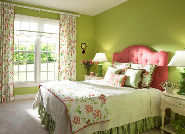 15 lovely tropical bedroom colors home design lover for Pink green bedroom designs