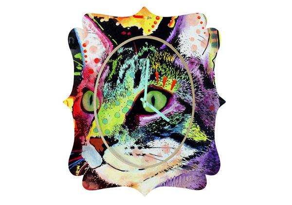 Dean Russo Curiosity Cat Quatrefoil Clock