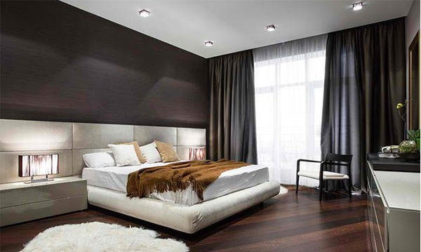 15 dark wood flooring in modern bedroom designs home - Adorable iconic furniture design adapts black and white color ...