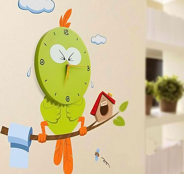 Silent Mute Cute Bird Modern Wall Clock
