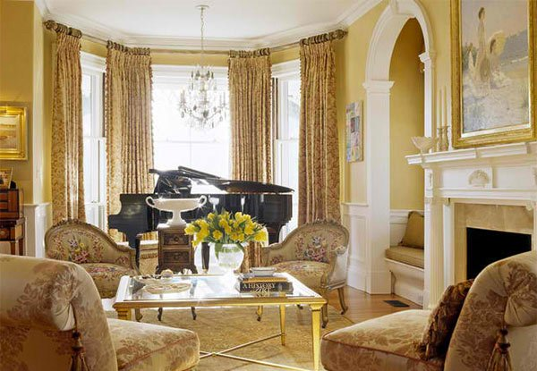 15 grand piano set ups in traditional living rooms home - Victorian style house interior ...
