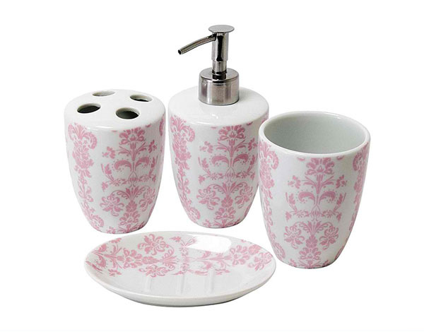 Genial Damask Porcelain Bathroom Set Pink