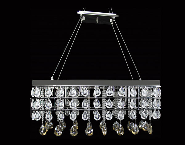 Smoked Rectangular Crystal Pendant Lamp