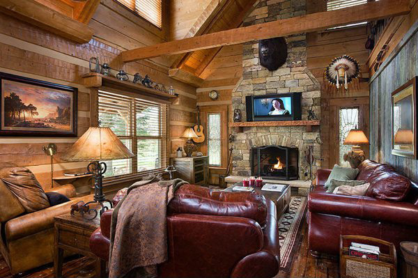 Charmant Rustic Stone Fireplace