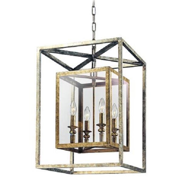 Morgan 4-Light Gold and Silver Leaf Pendant Light=