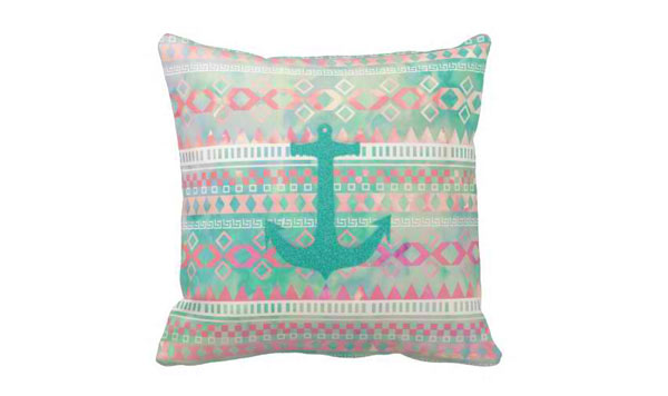 Emerald Nautical Anchor Pastel Watercolor Aztec Pillows