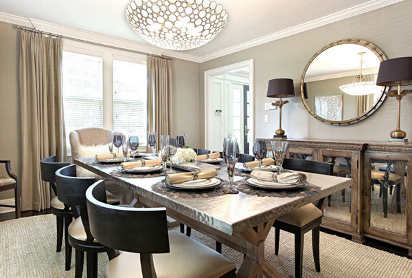 Decorating with Mirrored Furniture in 15 Stunning Dining ...