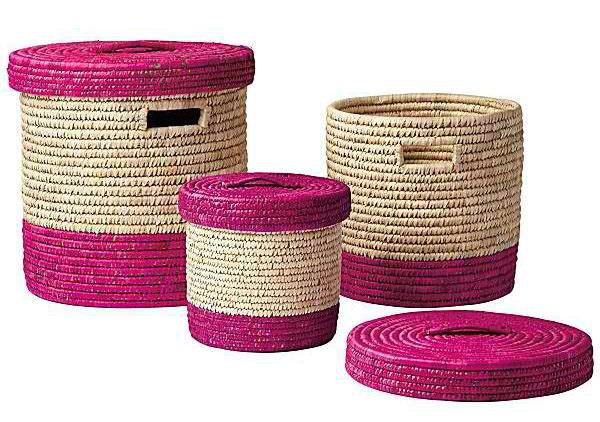 Nantucket Lidded Baskets Fushsia (Set of 3)