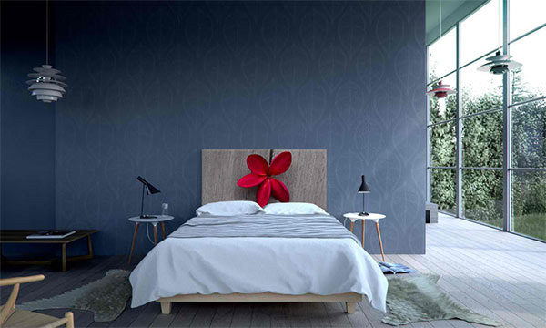 Red Flower on Wood Headboard
