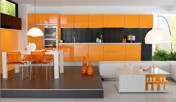 Orange White Minimalist Dining