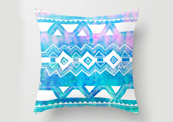 Tribal 2 - Aqua Pillow 16x16 cover
