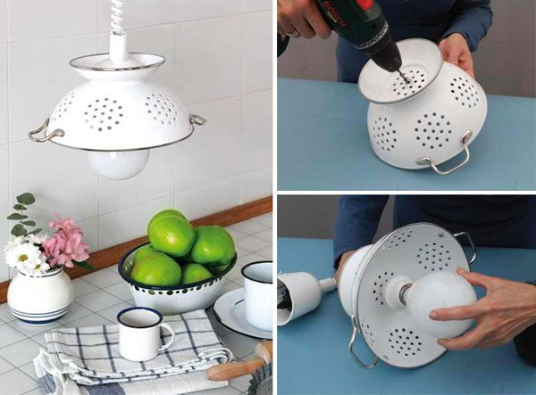 DIY Pendant Lamp Of Enameled Colander