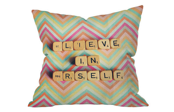 Happee Monkee Believe In Yourself Throw Pillow
