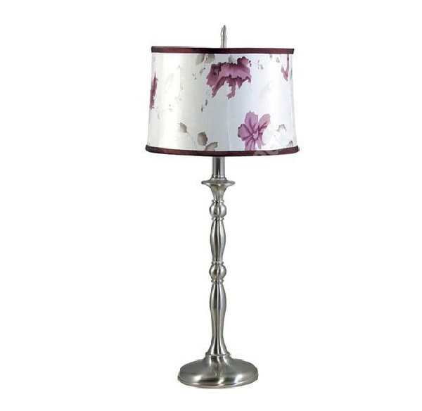 Brushed Nickel Lamp Floral Shade