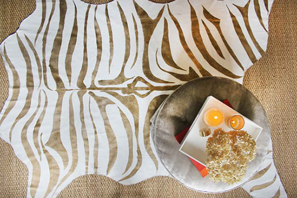 Metallic Gold Zebra Print Rug