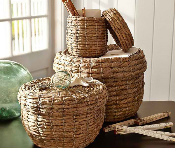 Stitched Seagrass Lidded Baskets, Set of 3