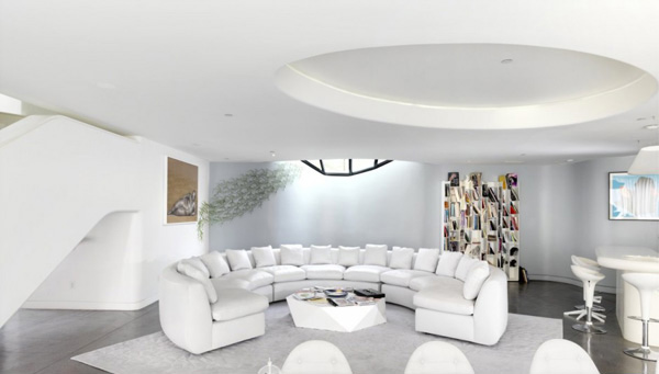 white curved sofa set