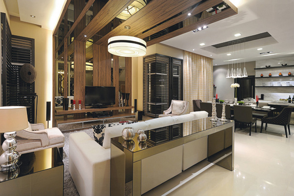 Decorating with mirrored furniture in 15 beautiful living for Modern living room malaysia