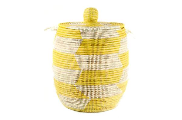 Handmade Fair Trade Woven African Hamper - Yellow - Large