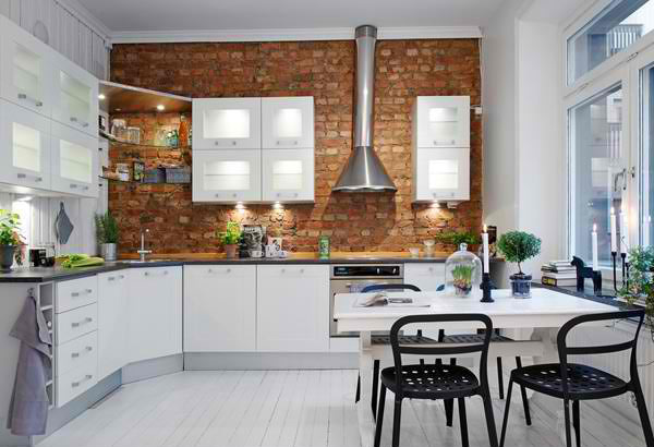 Add an industrial feel with bricks