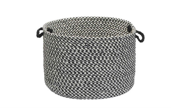 Outdoor Houndstooth Tweed, Black Utility Basket, 18