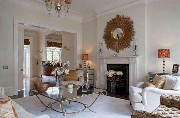 Decorating with Mirrored Furniture in 15 Beautiful Living Rooms ...