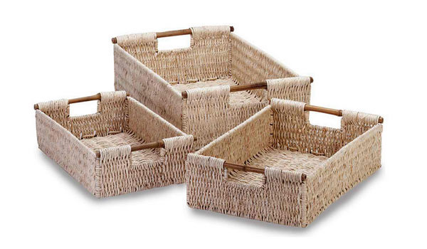 Gifts & Decor Bamboo Handle Woven Corn Husk Nesting Basket, 3-Piece