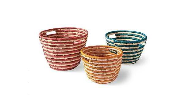 Set of Three Carmen Sea Grass Baskets