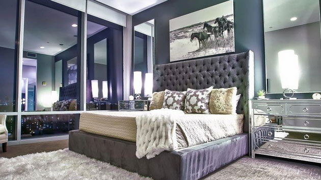 15 sample photos of decorating with mirrored furniture in for Sample bedroom designs