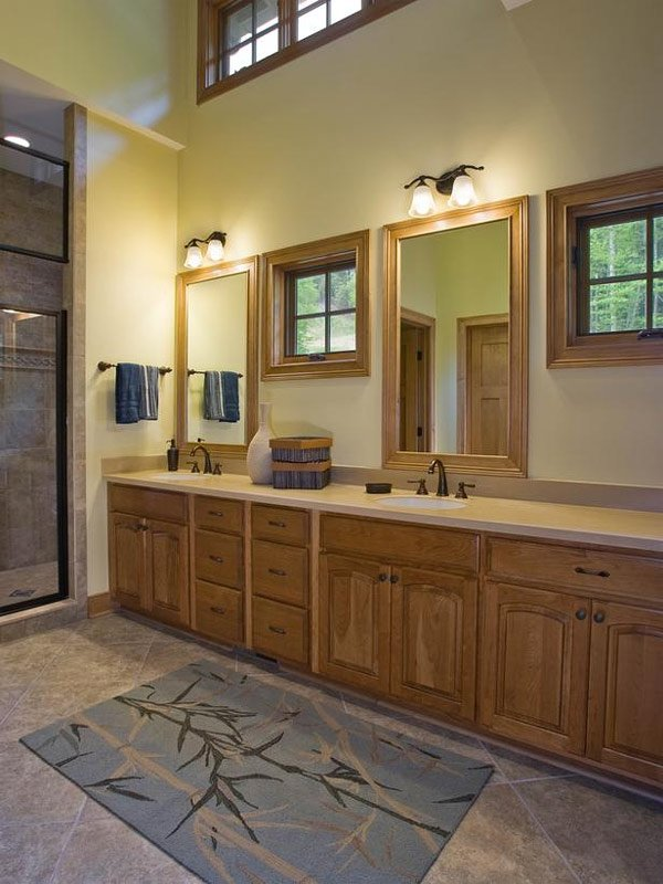 bronze woodwork double vanity