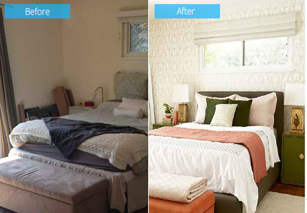 Before And After Photos Of A Moss And Coral Bedroom Makeover Home Design Lover