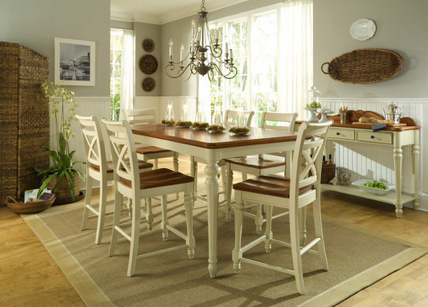 20 pretty beach cottage furniture for dining rooms home for Country style dining room