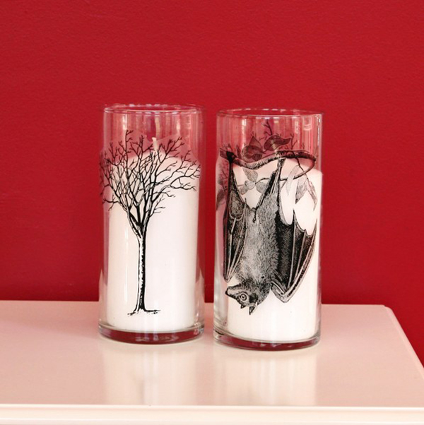 DIY Spooky Hurricane Glass Candle Holders