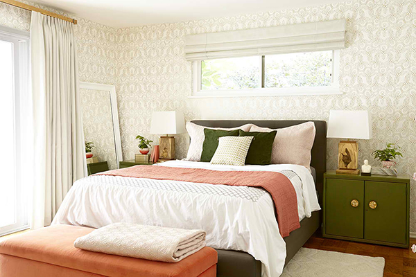 Moss Coral Bedroom Makeover