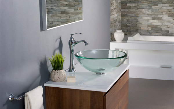 glass vessel bathroom basins