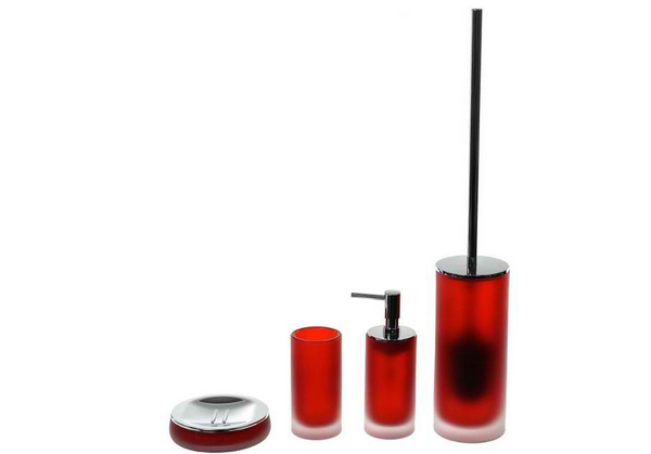 red glass bathroom accessories. 14. Red Cylindrical 4 Piece Glass Bathroom Accessory Set Accessories -