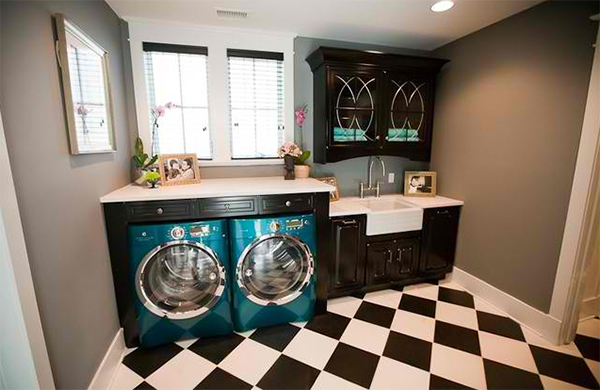 grey laundry area
