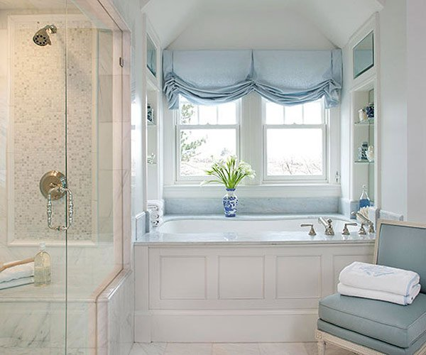 blue roman accents window treatment - Bathroom Window Treatments