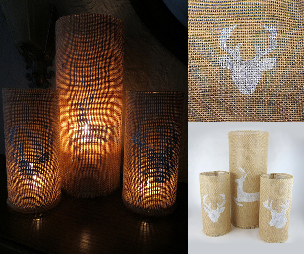 Stenciled Burlap Candleholders