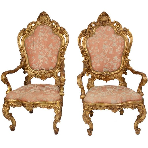 giltwood throne chair
